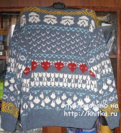 Мужской свитер с жаккардовым рисунком. Работа Елены вязание и схемы вязания