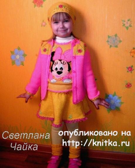 Вязаная безрукавка для девочки Веселая Минни вязание и схемы вязания