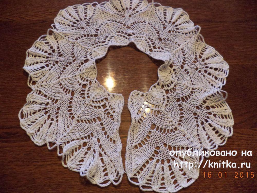 вязаный спицами ажурный воротник работа нины яснило вязание для женщин