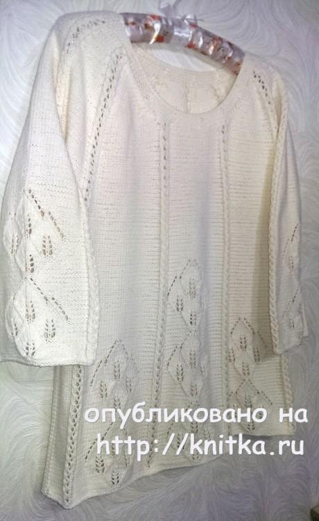 Женский пуловер спицами. Работа Эвелины Никандровой вязание и схемы вязания