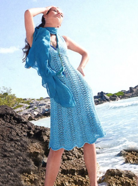 Сарафан цвета морской волны, вяжем спицами