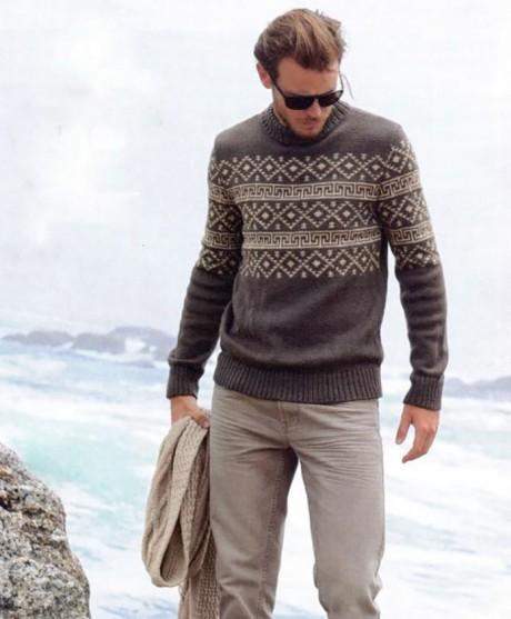 мужской свитер спицами с жаккардовым узором