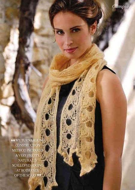Ажурный мохеровый шарф спицами