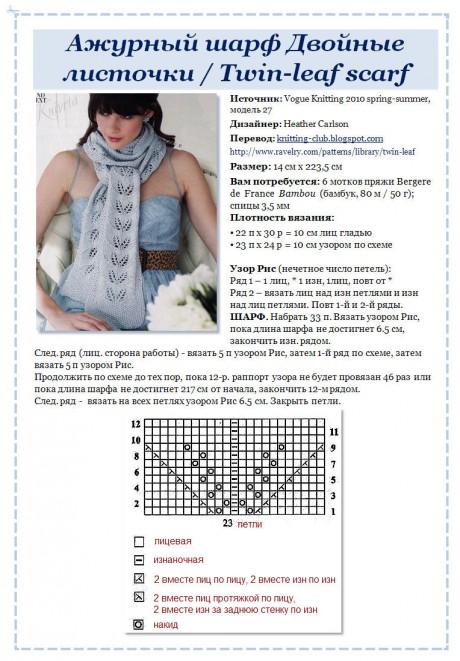 Ажурный шарф Двойные листочки