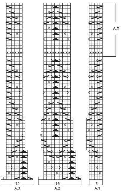 Шарф спицами, схема узора: