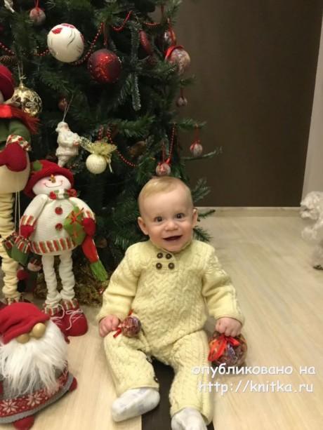 Детский комбинезон с аранами. Работа Надежды Поповой вязание и схемы вязания
