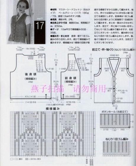 схемы вязания и выкройка ажурного жилета