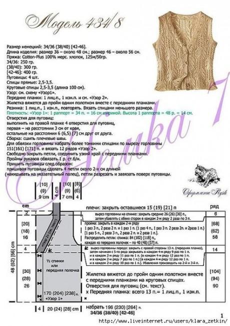 описание жилета ажурного