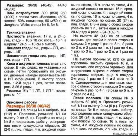 описание кардигана с ажурными полосами