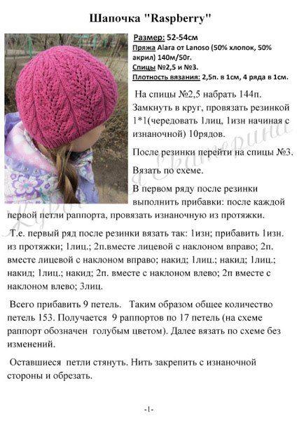 Ажурная шапочка спицами 1