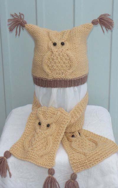 Комплект Совы, шапка и шарф спицами