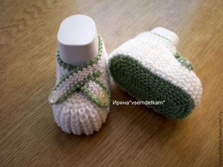 Мастер - класс туфельки для новорожденного спицами