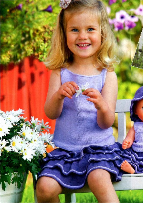 Топ и юбка с воланами для девочки спицами