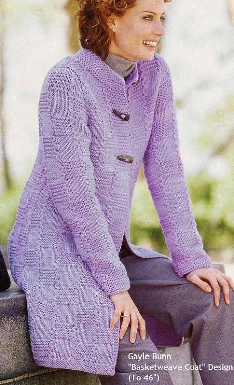 Пальто с плетеным узором, для женщин спицами