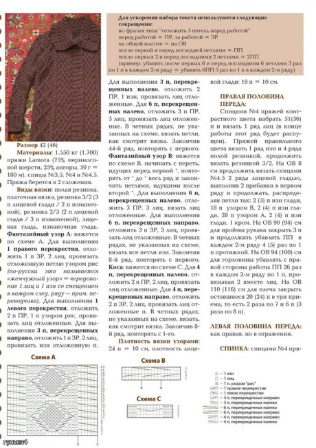 Описание процесса вязания и схемы пальто спицами