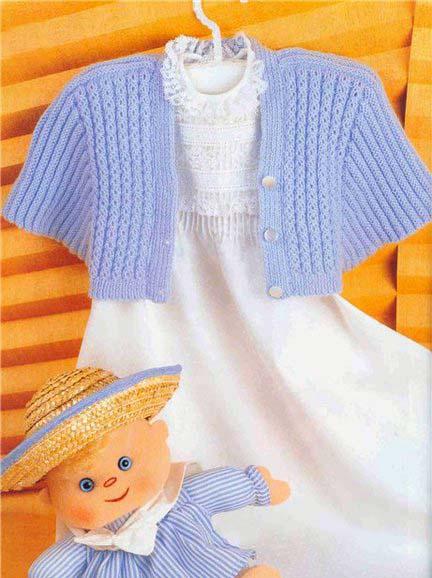 Голубое болеро для девочки, связано спицами