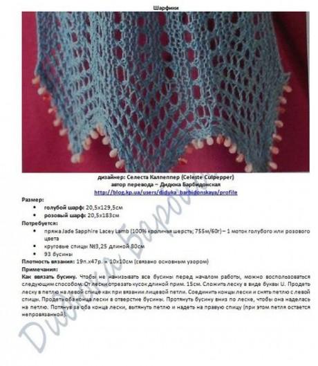 Два ажурных шарфа по одной схеме описание
