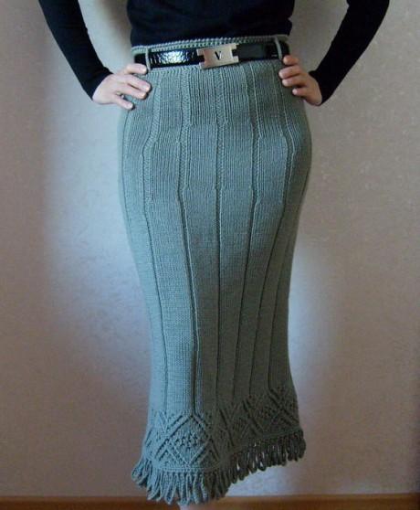 Теплая юбка макси спицами