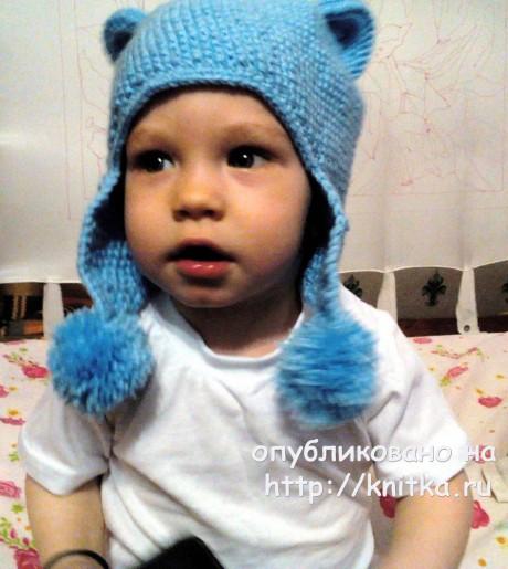 Кото - шапочка для ребёнка 3-4 лет. Работа Светланы Норман. Вязание спицами.