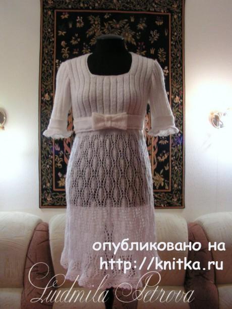 Платье - ампир спицами из мохера. Работа Людмилы Петровой вязание и схемы вязания