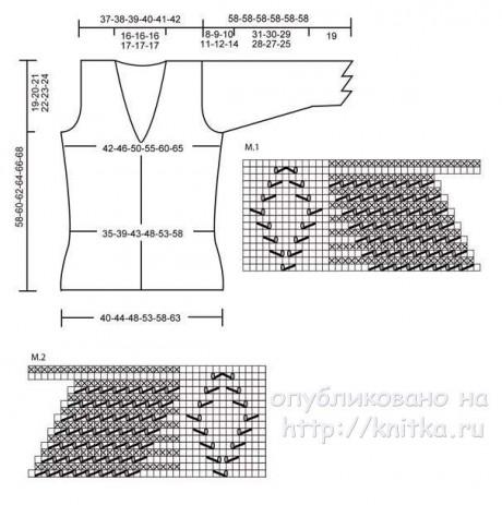 Вязаный спицами жакет. Работа Людмилы Петровой вязание и схемы вязания