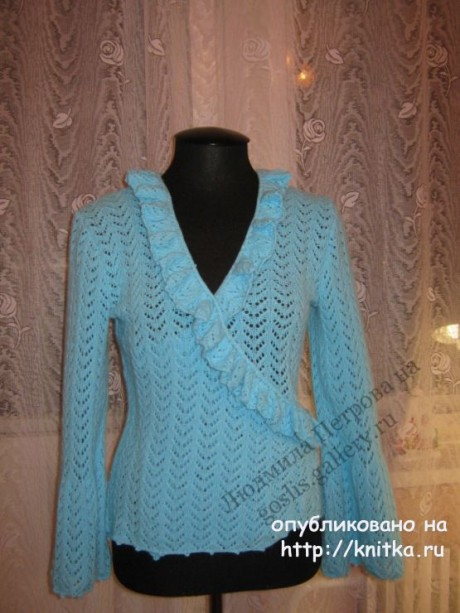 Женская ажурная кофточка спицами. Работа Людмилы Петровой вязание и схемы вязания