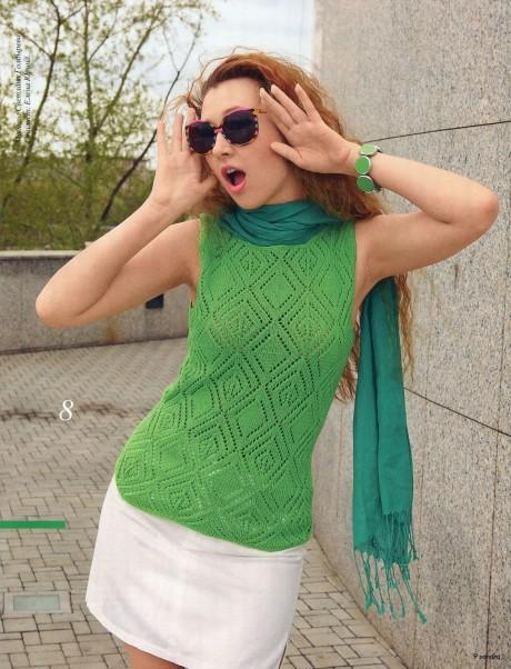 Зеленый ажурный топ спицами