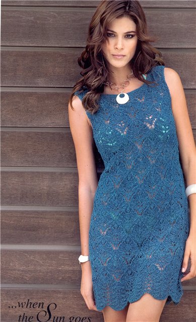 Синий сарафан спицами для женщин