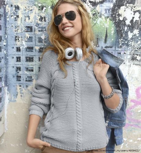 Женский пуловер спицами из Phildar