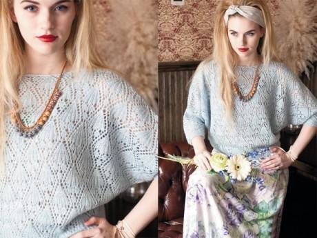 Ажурный женский пуловер с рукавами летучая мышь