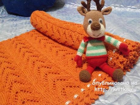 Детский плед вязаный спицами Рыжий лисёнок. Работа Акамарал. Вязание спицами.