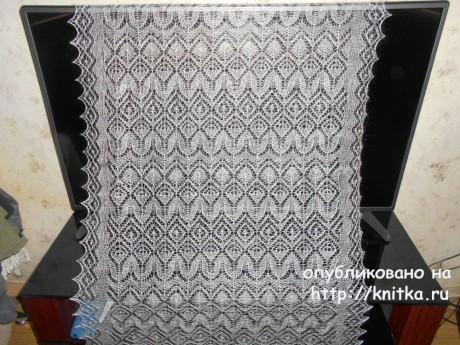 Вязаный спицами палантин. Работа Нины Ивановны вязание и схемы вязания