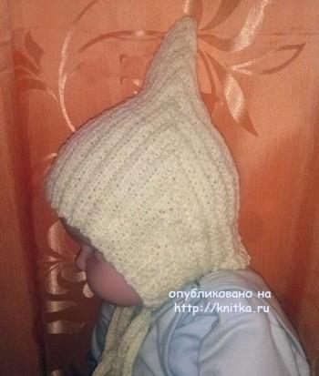 Шапочка эльф для новорожденного спицами - работа Алевтины
