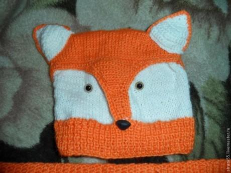 Шапочка - лиса спицами. Вязание спицами.