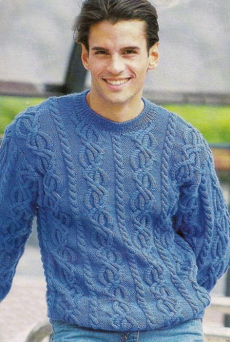 Шерстяной свитер спицами для мужчины