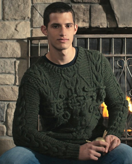 Мужской свитер спицами Колдун