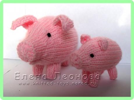 Свинья и поросенок спицами