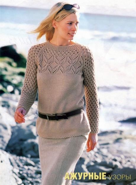 Женский свитер спицами реглан