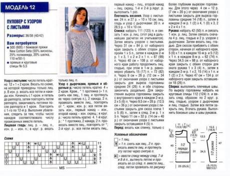Схемы и описание процесса вязания джемпера