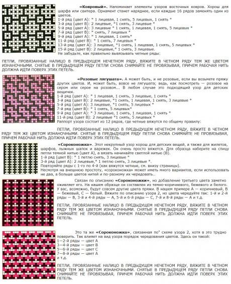 Схемы вязания двухцветных узоров ленивого жаккарда спицами