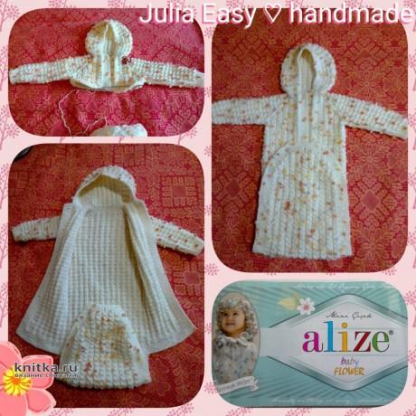 Комбинезон для девочки Нежный цветок. Работа Julia Easy вязание и схемы вязания
