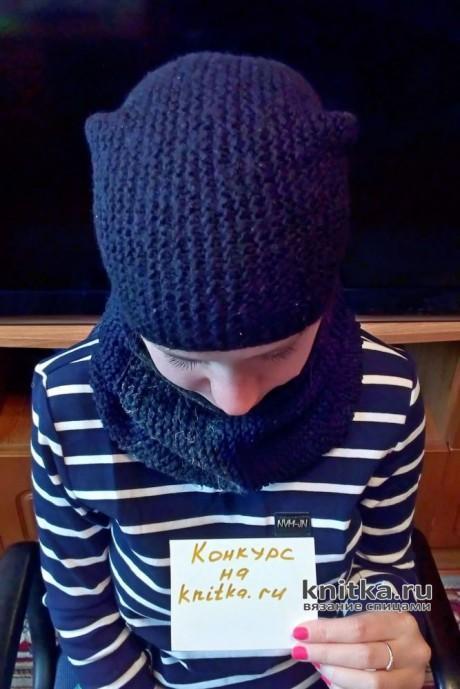Комплект Антрацит: шапка и снуд спицами. Работа Валерии. Вязание спицами.