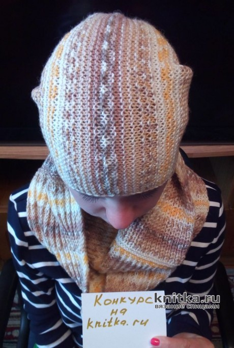 Комплект Меланж: шапка и снуд спицами. Работа Валерии. Вязание спицами.