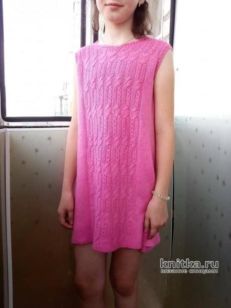 Платье для девочки спицами. Работа Татьяны Ивановны. Вязание спицами.