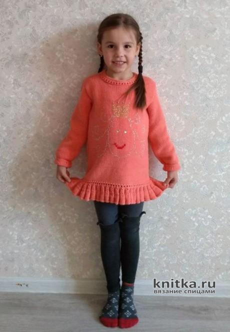 Туника для девочки Маленькая принцесса. Работа Людмилы Петровой. Вязание спицами.
