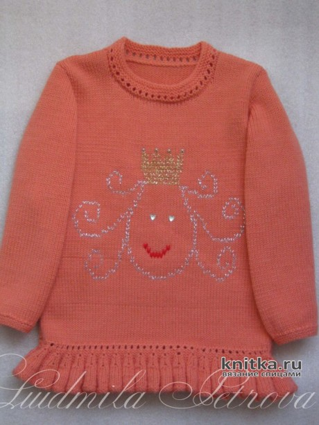 Туника для девочки Маленькая принцесса. Работа Людмилы Петровой вязание и схемы вязания