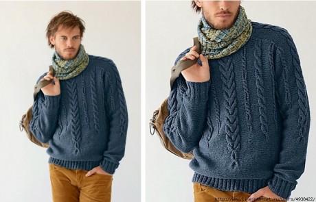 Красивый мужской свитер с косами