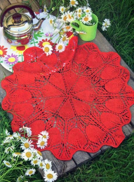 Красная салфетка спицами. Вязание спицами.