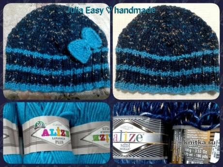 Детская шапочка спицами. Работа Julia Easy вязание и схемы вязания