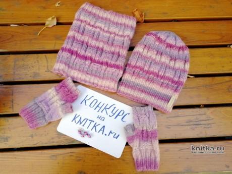 Комплект Первые морозы: шапка + снуд + митенки. Вязание спицами.